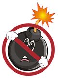 Sad bomb in red ban. Sad black round bomb peek up from red ban Stock Image