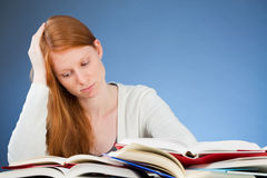 Sad or Bored College Student Reading Stock Images