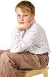 Sad boy. Portrait of sad boy over white Royalty Free Stock Photo
