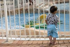Sad Boy. Standing by the pool Stock Image