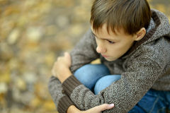 Sad boy in autumn park. Portrait of a little sad boy in autumn park Stock Photo