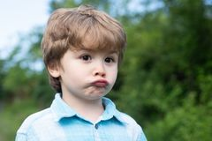 Sad boy. Emotional baby. Emotions on the face. Facial sadness. Emotional intelligence. Childrens frustration. The child royalty free stock images