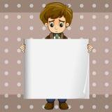 A sad boy holding an empty signage Stock Photography