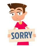 Sad boy holding a sign Sorry. Vector royalty free illustration