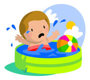 Sad Boy in Kiddie Pool Royalty Free Stock Photo