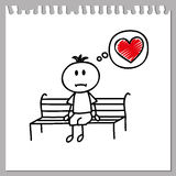 Sad boy. Sad little boy sits on a bench and dreams of love(cartoon doodle Royalty Free Stock Images