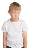 Sad Boy. Sad looking little boy, isolated Royalty Free Stock Images