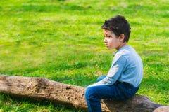 Boy 4 years old sitting alone on a log. Sad boy sitting alone on a log in the meadow royalty free stock photo