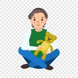 Sad boy teddy bear icon, flat style royalty free illustration