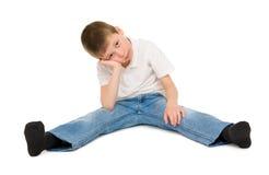 Sad boy on white Stock Photo