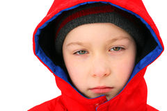 Sad Boy in the Winter Stock Photography