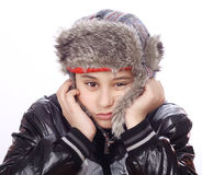 Sad boy with winter hat Stock Photography