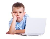 Free Sad Boy With Laptop On White Royalty Free Stock Photos - 27485958