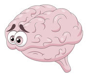Sad brain. Cartoon sad brain isolated on white background vector illustration