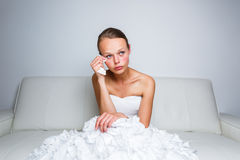 Sad bride crying Stock Photos