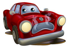 Sad broken down cartoon car. A sad broken down cartoon car character in need of repair Stock Photo