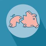 Sad broken Piggy bank or money box. Symbol. Thin line linear vector illustration Royalty Free Stock Images