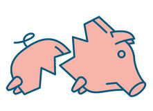 Sad broken Piggy bank or money box. Symbol. Thin line linear vector illustration Royalty Free Stock Image