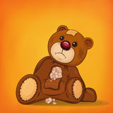Sad brown injured teddy bear Royalty Free Stock Photos