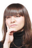 Sad brunette in black Royalty Free Stock Image
