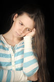 Sad brunette girl Stock Photos