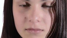 Sad brunette girl stock video footage