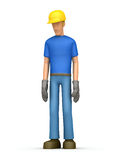 Sad builder. Illustration sad abstract cartoon character on a white background Stock Photography