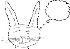 Sad Bunny Rabbit Outline Royalty Free Stock Photography