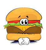 Sad burger cartoon Stock Image
