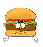 Sad burger cartoon Stock Photography