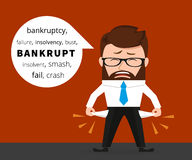 Sad business man crying because of bankruptcy vector illustration