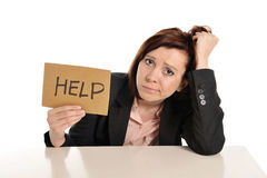 Sad business red haired woman in stress at work asking for help Royalty Free Stock Photos