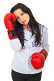 Sad business woman with boxing gloves Royalty Free Stock Photography