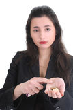 Sad business woman counts the money Stock Images