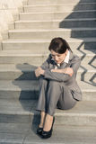 Sad business woman feel helpless Stock Image