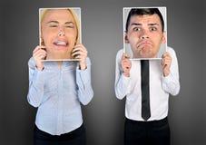 Sad business woman and man Stock Photo