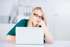 Sad Business Woman In Office Stock Photo