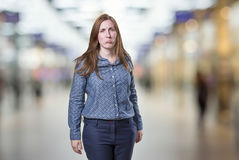 Sad business woman  over white background. Royalty Free Stock Photography