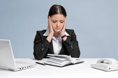 Sad business woman with  personal organizer. Stock Image