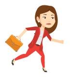 Sad business woman running vector illustration. Stock Image