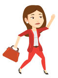 Sad business woman running vector illustration. Royalty Free Stock Images