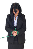 Sad business woman tied up Royalty Free Stock Photos