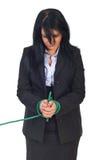 Sad business woman tied up royalty free stock photos