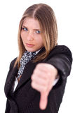 Sad Business women showing her thumbs down Stock Photography