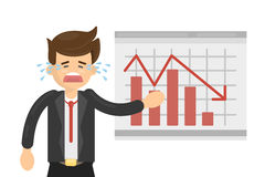 Sad businessman with board. Sad businessman with bad statystics on the board. Red arrow falls down. Cartoon man cries Royalty Free Stock Image