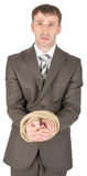 Sad businessman bound with rope Stock Images