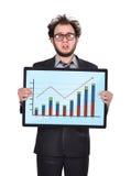 Sad businessman and chart Royalty Free Stock Photo