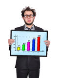 Sad businessman and chart Royalty Free Stock Photography