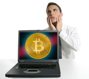 Sad businessman investing in Bitcoin BTC. Cryptocurrency Royalty Free Stock Photography