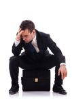 Sad businessman isolated Stock Image